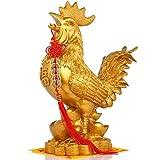 LJXLXY Feng Shui Dekoration Feng Shui Hahn Statue Dekoration + Set 5 Lucky Charm Antike Münzen auf Rot String Charm of Prosperity Hauptdekoration Geschenk Feng Shui-Dekor Home Tisch Büro Feng Shui