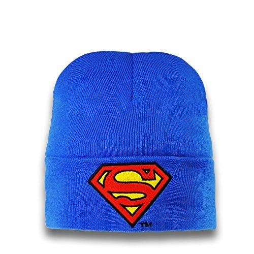 Logoshirt DC Comics - Superman Logo Gorro de Punto de Invierno para niño - Bordado - Azul - Diseño Original con Licencia