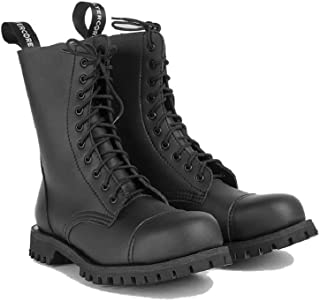 Altercore 551 Anfibi Stivali Militari Nero Pelle Unisex Donna Uomo 10 Buchi Army Punk Punta di Ferro Ranger