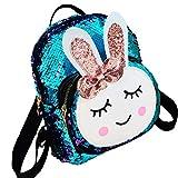 Bolsos de Hombro para niños, para niñas pequeñas Mochila de Dibujos Animados Preciosa con Orejas de Conejo para Uso Diario de Viaje (2-8 años) - Azul Claro
