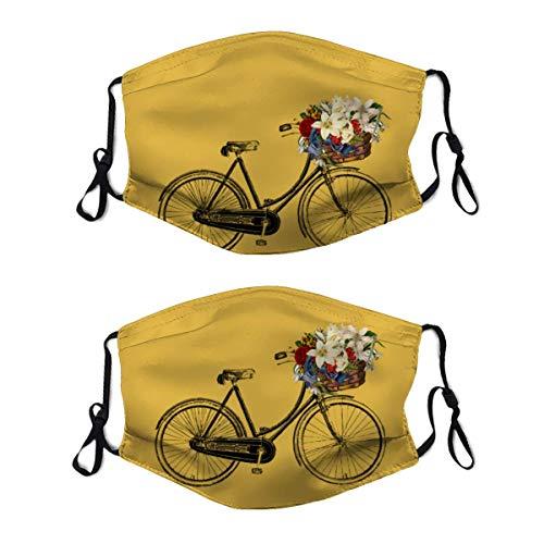 Spicy Hot Senf Fahrrad Blume verstellbar wiederverwendbar Gesicht M_ask Anti-Staub M_Asks Mundschal Gesichtsschutz für Outdoor 2 Stück