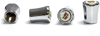 A ABIGAIL Cadillac Logo Tire Valve Stem Caps 4 Pcs Zinc Alloy Tire Valve Stem Caps for Cadillac