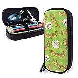 Estuches de lápices con cremallera multiusos para la escuela, suministros de oficina, diseño de setas, color verde