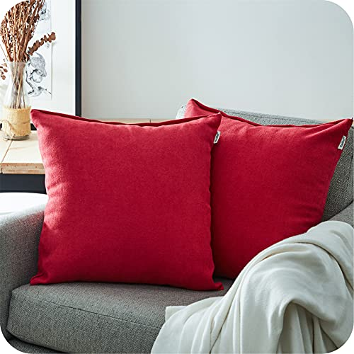 Topfinel Juego 2 Fundas Cojines Hogar Algodón Lino Decorativa Chenilla Almohadas Fundas de Color sólido para Sala de Estar sofás 40x40cm Rojo