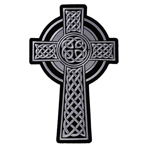 Celtic Cross Large Back Patch - 7.2x11 inch. Embroidered Iron on Patch