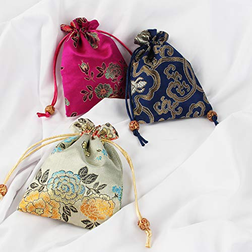 kilofly 14pc Silk Brocade Jewelry Pouch Double Layer Drawstring Coin Gift Bag