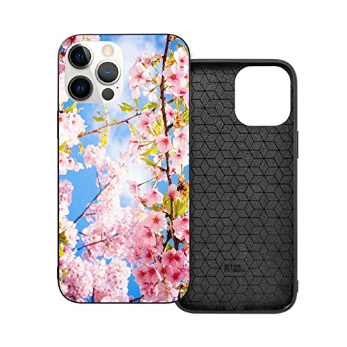VEELFF Carcasa compatible con iPhone 12 Pro Max de 6.7 pulgadas, diseño de flor de cerezo primavera delgado a prueba de golpes TPU suave silicona cubierta del teléfono