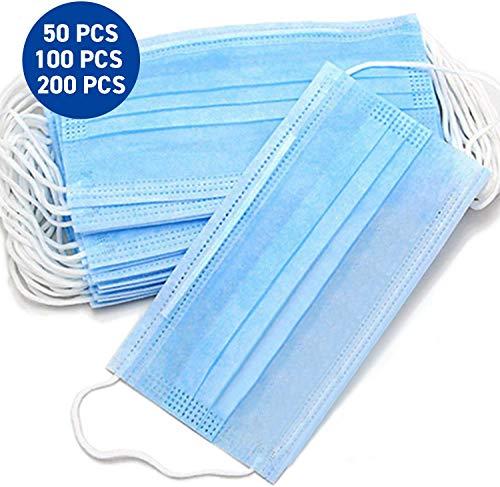 Einweg OP-Maske Gesichtsmaske 3-lagig Mundschutz Staubschutz Infektionsschutz Schutzmaske Atemschutzmaske mit Ohrschlaufen schützt vor Verschmutzungen (Blau) (20pcs)
