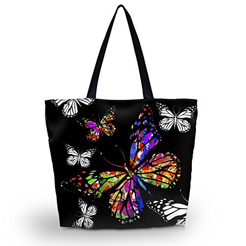 Newplenty Ladies Zippered Light Shoulder Shopping Tote Bag Handbag Beach Satchel, Cool Tiger