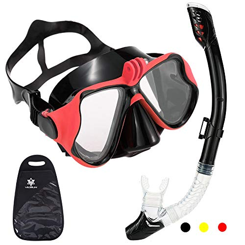 V VILISUN Dry Snorkel Set Scuba Diving Mask with Camera Mount Anti Fog Wide View Tempered Glass Anti Leak Dry Snorkel Food Grade Silicone Snorkelling Gear for Women Men