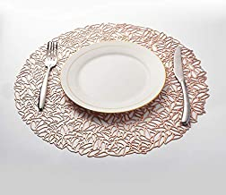 WARMTONE Round Placemats for Dining Table Set of 10 Place Mats Non Slip for Restaurant, Wedding, Family Parties (Rose Gold)