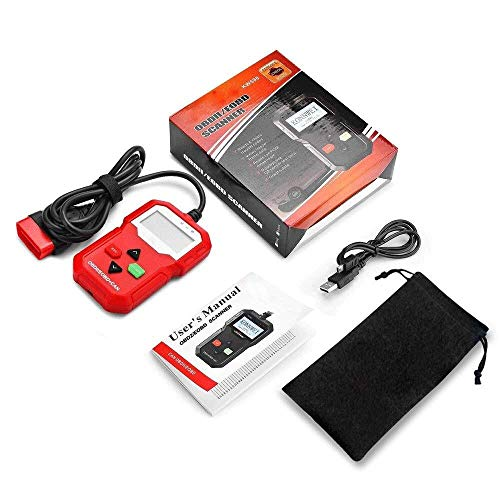 Carryoo Kfz-Fehlercode-Lesegerät iPhone, OBD-Ii-Scanner, Kfz-Fehlercode-Lesegerät Motordiagnosescanner-Reset-Tool, Support-System XP WIN7 WIN8 WIN10, Support 7 Sprachen, Schwarz