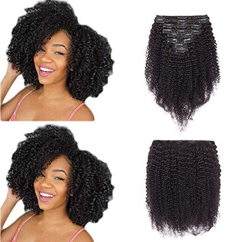 """Extension a Clip Cheveux Naturel Bouclé Noir Naturel - Tissage Bresilien Bouclé en Lot avec Clips - Rajout 100% Cheveux Humain - 22""""-120g"""