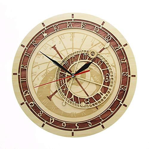 WANZSC Reloj Astronómico En Madera República Checa Astronomía Medieval Arte De Pared Astrología Decorativo Reloj De Pared Artwork Praga Regalo