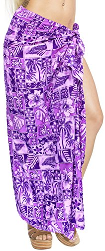 LA LEELA Women Hawaiian Sarong Women Plus Size Beach Wrap One Size Plus Violet_S15