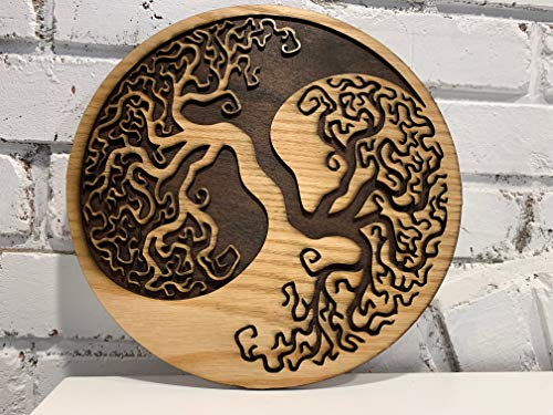 Yin Yang Tree of Life, Wood Wall Decor Art, Wooden Tree of Life, Yin Yang Symbol Art - Custom Engraving Available