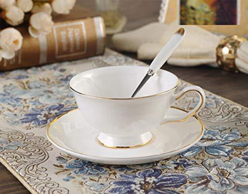 Tasse Kaffee Becher Goldrand Weiße Porzellantasse Mit Untertasse, Porzellan Elegante Kaffeetasse Nachmittagsteetasse Europäische Tassen Schwarze Teetassen, 02