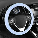 Sharper Image Ultra Soft Comfy Leather Grip Steering Wheel Cover - Universal Size 14.5 15 15.5 Inch (Baby Blue)