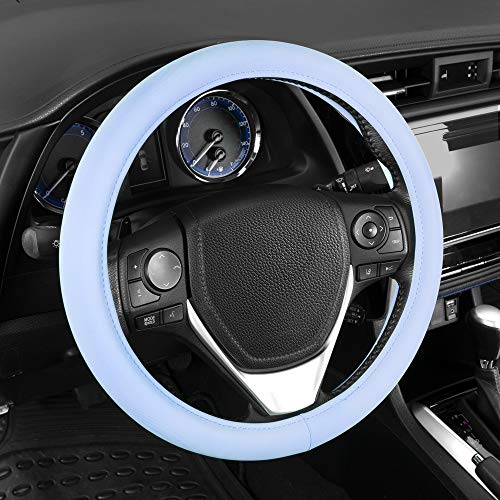 Sharper Image Ultra Soft Blue Steering Wheel Cover for Women - Comfy Grip Faux...