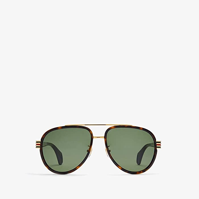 Gucci  GG0447S (Shiny Dark Havana/Green Solid) Fashion Sunglasses