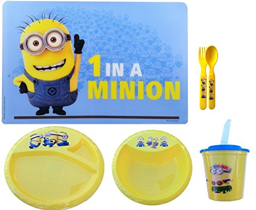Minions 1 in a MINION Mega Lunch SET. Minion Placemat, plate, bowl, cup, and utensils. All in one package