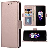 Phone Case for Oneplus 5 Folio Flip Wallet,PU Leather Credit Card Holder Slots Heavy Duty Full Body Protection Kickstand Phone Cover for Oneplus5 A5000 One Plus5 1 Plus 1plus 1+ 1+5 Women Rose Gold