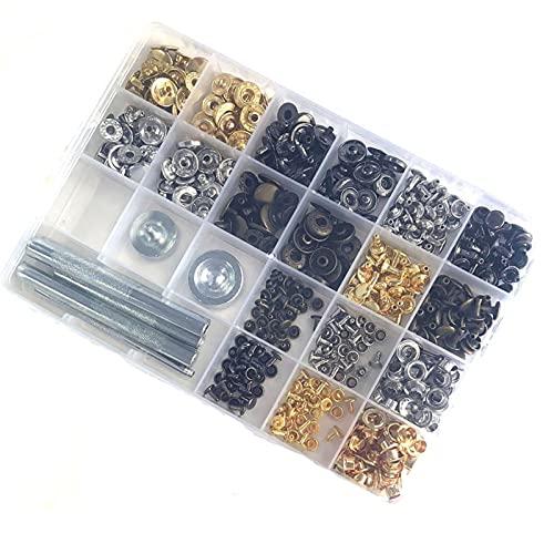 Ojales Kit,Herramientas De Ojetes Kit de remache de cuero Snaps de metal, que incluye kit de botón, tornillos, espárragos de prensa, remaches para cuero, cinturón, chaqueta, artesanía de cuero