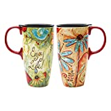 CEDAR HOME Travel Coffee Ceramic Mug Porcelain Latte Tea Cup With Lid in Box 17oz, Flower Enjoy Life, 2 Pack