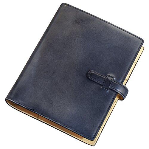 (ラファエロ) Raffaello 一流の革職人が作る ブライドルレザーで製作したシステム手帳 (ブラック)