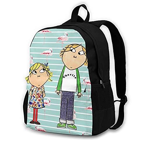 Charlie und Lola-Muster Rucksack, leichte Multifunktions-College-Laptop-Büchertasche. Gr. One size, Schwarz