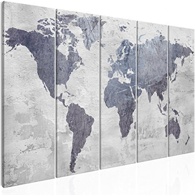 Decomonkey Akustikbild Pinnwand Weltkarte 225x90 cm 5 Teilig Bilder Leinwandbilder Wandbilder als Korktafel XXL Korkwand nutzbar Schallschutz Akustikdmmung leise grau Steineffekt Kontinente Map Welt