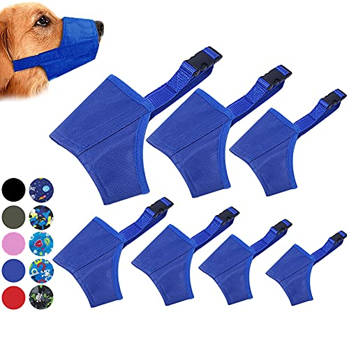 Coppthinktu Dog Muzzle Suit, 7PCS Dog Muzzles for Biting Barking Chewing, Adjustable Dog Mouth Cover for Small Medium Large Dogs, Soft Comfortable Dog Muzzle for Long Snout