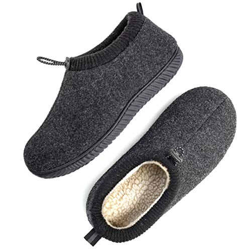 ULTRAIDEAS Men's Cozy Memory Foam Woolen Slippers with Elasticated Collar, Warm Closed Back House Shoes with Indoor Outdoor Rubber Sole (Black, Size 11)