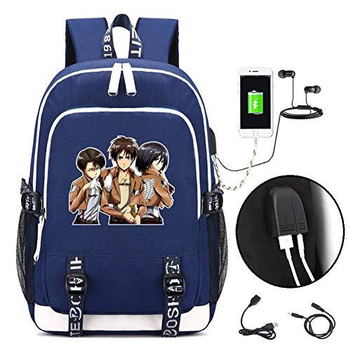 Anime Attack on Titan Mochila Escolar de Gran Capacidad Cosplay Mochila con Puerto de Carga USB (Azul4)