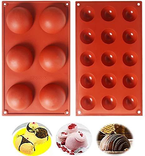 Moldes de Silicona Semiesfera para Hornear para Hacer Chocolate Pasteles Gelatina Pudín Mousse de Cúpula Tartas y Magdalenas, 2 Piezas 6/15 cavidades, Ø 7 cm, Ø 3,8 cm