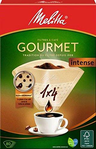 Melitta, 80 Kaffeefilter, Größe 1 x 4, für Filterkaffeemaschine, Gourmet Intense, Braun