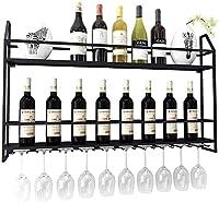 ワインラック壁掛け錬鉄棚ぶら下げワイングラスラックレストランリビングルームバーワインラック100x12x62cm A +
