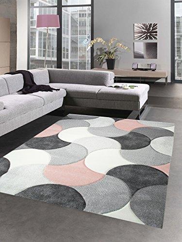 CARPETIA Designer Teppich Wohnzimmerteppich Kurzflor Tropfen rosa grau Größe 80x150 cm