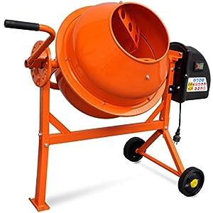 Festnight Hormigonera Eléctrica de Acero 63 Litros 220 V Color Naranja 110 x 55 x 93,5 Longitud x Ancho x Alto