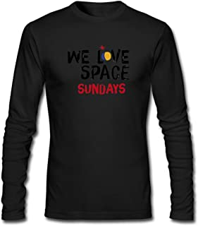 Hefeihe DIY We Love Space Ibiza Sundays Men's Long-Sleeve Fashion Casual Cotton T-Shirt