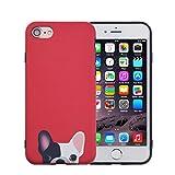 FACEVER Funda iPhone 6s Plus, Bonito Bulldog Francés Mate Anti-Huellas Suave de Silicona para Chicas Perros Allegres Protectora Funda para Apple iPhone 6 Plus 6s Plus de 5.5 Pulgadas - Rojo