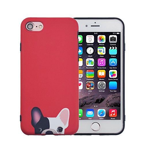 FACEVER Cover iPhone 6s Plus, Tenero Bulldog Francese Opaco Anti-Impronta Morbido Silicone per Ragazze Cani Divertenti Custodia Protettiva Cover per Apple iPhone 6 Plus 6s Plus da 5.5 Pollici - Rosso