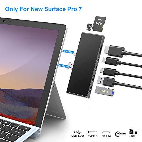 Surface Pro 7-Dockingstation - 7-in-2-Surface Pro-Hub-Adapter mit 4K HDMI- 2USB C PD-Aufladung - 2USB3.0- SD / MicroSD-Kartenleser -für Microsoft Surface Pro 7-Zubehör, MS Surface Pro-Dockingstation