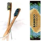 4 Cepillos de dientes de Bambú ecológico - cerdas de carbón suaves, mango de madera biodegradable y libre de plástico, vegano, ecológico, sin BPA ni BPS, cerdas densas y finas, dos colores