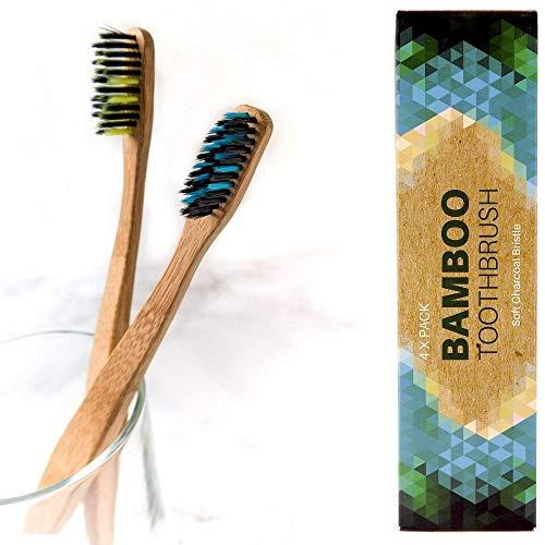 Bambus Zahnbürsten Biologisch Abbaubar Holzzahnbürste - Weich, 100% frei von BPA und BPS, Borsten mit Bambus-Holzkohle, Bamboo Toothbrush (Weich 4er)