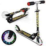 Roller Kinder Scooter ,Caroma Tretroller für Kinder mit LED-Beleuchtung, Tretroller, 3 höhenverstellbar, für Kinder im Alter von 3–10 Jahren, klappbarer Heckblech-Roller,Gewichtskapazität 110 lbs.