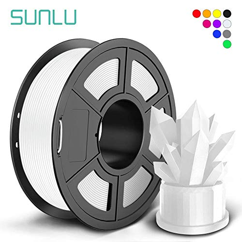 SUNLU PLA+ Filament 1.75mm for 3D Printer & 3D Pens, 1KG (2.2LBS) PLA+ 3D Printer Filament Tolerance Accuracy +/- 0.02 mm, White