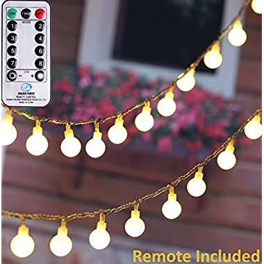 MineTom UL Listed 33 feet Crystal Ball 100 LED Globe String Lights with Remote & Timer, Warm White