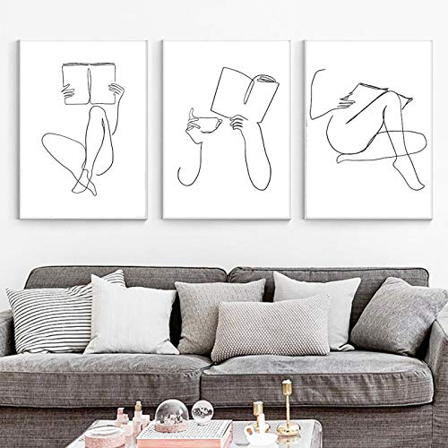 Impresión de arte de café abstracto mujer manos libro dibujo lineal lienzo pintura librero cartel librería pared arte imagen decoración 40x50cm (16x20in) x3 sin marco
