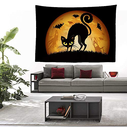 GenericBrands Halloween Tapestry Pumpkin In Spooky Graveyard Background Cloth Wall Hanging Decoration Cloth Tapestries